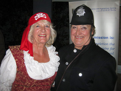 President Jeannie Brewer and Fundraising Co-ordinator Noreen Birchall in her Policeman's uniform